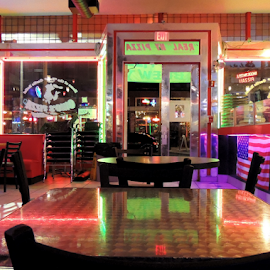 Pizzeria by Jamie Boyce - Buildings & Architecture Other Interior ( interior, neon, pizza, reflections, restaurant, tampa., light,  )