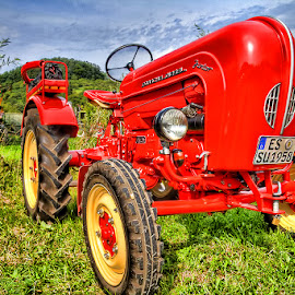 Tractor by Andy Just Andy - Transportation Other ( red, hdr, colors, green, tractor )