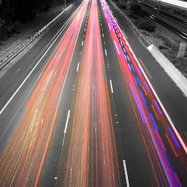 Rush by Hayden Lamb - City,  Street & Park  Street Scenes ( lights, colourful, night, trails, freeway )