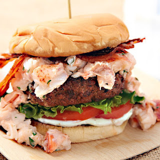 Surf N' Turf Burger (Grilled Burger with Lobster and Bacon)