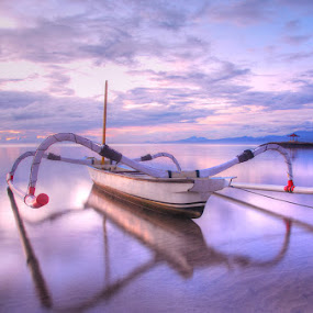 Boat On Sunrise by Yande Ardana - Transportation Boats ( bali, seascape, sunrise, boat )