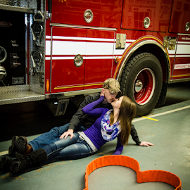 Burning Love by Dave Dabour - People Couples ( fire fighter, engagement ring, brittany, cody, fire hose, engagement )
