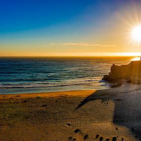 Beautitude by Jamie Valladao - Landscapes Beaches ( sunburst, serene, sunset, sunrays, ocean, beach,  )