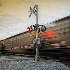 Hauling Coal by Jonathan Abrams - Transportation Trains ( crossing, iowa, coal, train, signal, tracks )