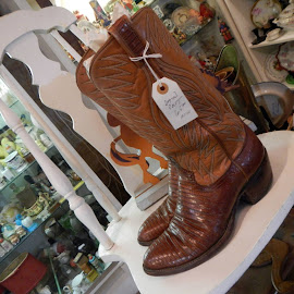 Boots on a Chair by Charlie Garalis - Artistic Objects Clothing & Accessories