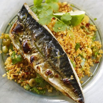 Grilled Mackerel With Harissa & Coriander Couscous