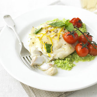 Lemon Cod With Basil Bean Mash
