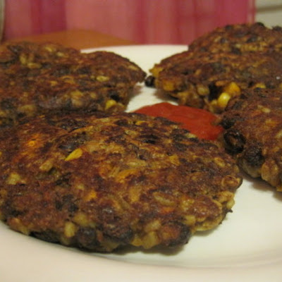 Black Bean, Corn + Oat Burgers