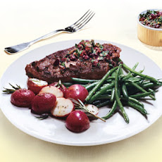 Grass-Fed Steaks with Kalamata-Olive Chimichurri