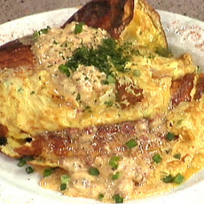 Crab Meat Omelet with Tasso Hollandaise