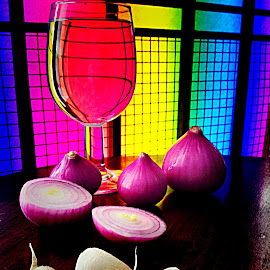 by Janette Ho - Artistic Objects Still Life ( purple, yellow, color,  )