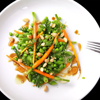 Peas and Carrots Salad with Goat Cheese and Almonds