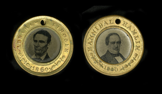 "Widespread use of campaign tokens began in the 1820s. By 1860, they were common campaign paraphernalia.  This shows two sides of a <a href=""http://www.gilderlehrman.org/collections/0b4b32e3-904d-4555-97c1-813627638727?back=/mweb/search%3Fpage%3D6%2526needle%3DUnion%2520Party"">Republican token</a> from the 1860 election, with Lincoln and his running mate, Hannibal Hamlin, pictured on either side."