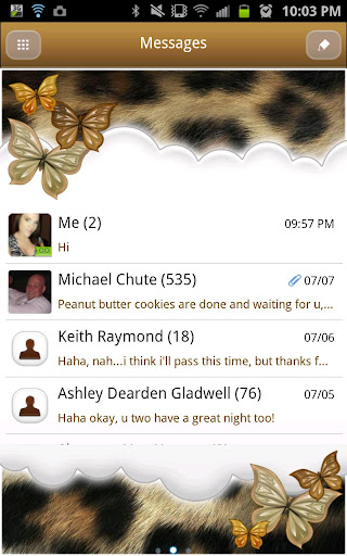 GO SMS - Butterfly Leopard Sky