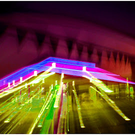Petrol Pink by Louise Eksteen - Abstract Light Painting ( lights, car lights, filling station, pink, business, the mood factory, mood, lighting, sassy, colored, colorful, scenic, artificial, scents, senses, hot pink, confident, fun, mood factory  )