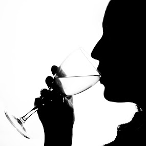 Wine? by Eladio Gomes - Black & White Portraits & People ( wine, black and white, black & white, glass, white wine, silluette, portrait, woman, b&w, person,  )