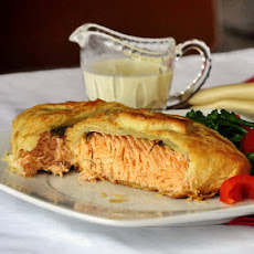 Salmon in Sour Cream Pastry with Tarragon Dijon cream Sauce
