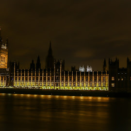 Big Ben by Natalia Dobrescu - Buildings & Architecture Public & Historical ( uk, clock, canon 70d, cityscape, united kingdom, photography, city, nightscape, lights, tower, thames, london, vista, westminster, night, long exposure, big ben, river )