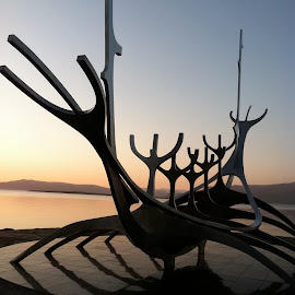 untitled by T.m. Fairman - Artistic Objects Other Objects ( sculpture, iceland, metal, sunset )