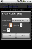 Screenshot of Batting Stats