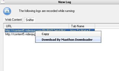 Downloading videojug videos with maxthon - File sniffer options