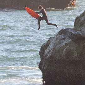 Brave Young Surfer Boy by Jan Casella - Sports & Fitness Surfing ( surfing, surfer, jump )