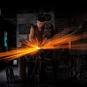 Blacksmith at work by Crispin Lee - People Street & Candids