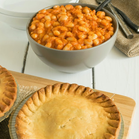 Marie Callender's pot pies with British baked beans