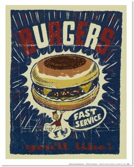 vintage burger poster