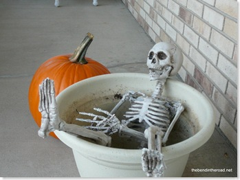 Curly the Skeleton kicking back