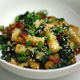 Rice Cakes with Kimchi, Bacon, and Spinach