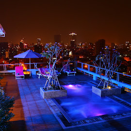 by Matty Gott - City,  Street & Park  Skylines ( skybar, phnom penh, night, cambodia )