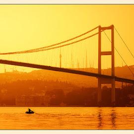 Bosphorus bridge by Ivan Ivanov - Buildings & Architecture Bridges & Suspended Structures ( sea, sunrise, bridge, istanbul, golden )