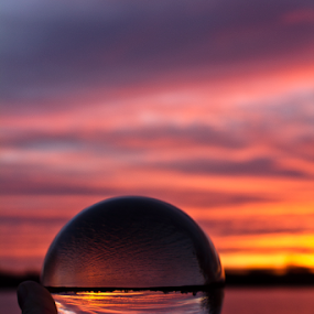 by Mike Ross - Artistic Objects Glass ( england, northampton, crystal ball, mike ross, glass, sixfields, , golden hour, sunset, sunrise )