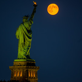 Supermoon and Statue of Liberty  by Ed Finn - City,  Street & Park  Night ( statue of liberty, moon, supermoo, new york harbor, liberty state park, new york city, supermoon, night sky )