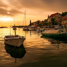 by Stjepan Jozepović - Landscapes Sunsets & Sunrises ( solta, sunset, ship, croatia, gold )