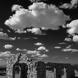 Lancaster Old Church by Patrick Flood - Buildings & Architecture Decaying & Abandoned ( canon, clouds, photosbyflood, church, black and white, california, lancaster )