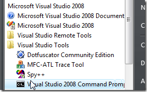 Windows Vista Start->All Programs->Microsoft Visual Studio 2008->Visual Studio Tools->Visual Studio 2008 Command Prompt