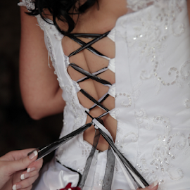 Tie me up by Lodewyk W Goosen-Photography - Wedding Getting Ready ( love, kiss, married, wedding, hitch, getting ready, couple, bride and groom, marriage )