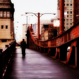 LaSalle Street by Barbara Palaith - City,  Street & Park  Street Scenes ( street, bridge, chicago, street photography )