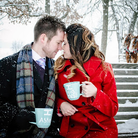 Staying Warm by Jess Anderson - People Couples ( angie & brandon, winter, february, 2014, sleigh, snow, engagement )
