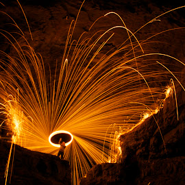 Cave-In-Rock, IL by Chris Taylor - Abstract Fire & Fireworks ( abstract, cave-in-rock, 365, night photography, spinning fire, long exposure, fire )