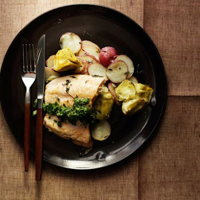 Salmon with Potato-Artichoke Hash