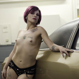 taxi driver by Ken Mccartney - Nudes & Boudoir Artistic Nude ( purple hair, a-cups, topless, 1972, taxi, small boobs, tattoos, monte carlo, tattoo )