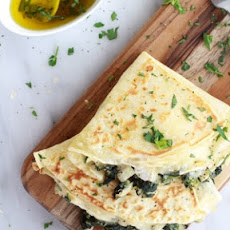 Spinach, Artichoke and Brie Crepes with Sweet Honey Sauce