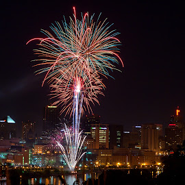 St. Paul Fireworks by John Stocker - Public Holidays July 4th ( flash, skyline, firework, fireworks, july 4th, night, independence day, fire, st. paul, downtown )