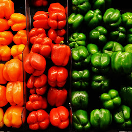 Rainbow Of Peppers by Rhonda Rossi - Food & Drink Fruits & Vegetables ( colorful, mood factory, vibrant, happiness, January, moods, emotions, inspiration,  )