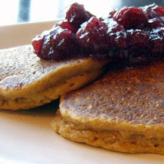 Eggnog Pancakes with Cranberry Sauce
