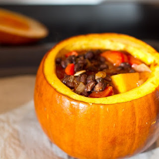 Emily's Butternut Squash and Black Bean Chili in Pumpkin Bowls