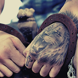 The Lion and the Lamb by Emily Johnson - People Body Art/Tattoos ( lion, tattoos, shackles, portrait, cross,  )